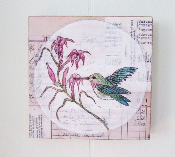"Hummingbird Art Print Mounted on Wood Ruby Throated Hummingbird Wall Art Original Art Art For Tiny House. ""Hummingbird and Scarlet Gila"" This is a print of a original pen and ink and watercolor of mine. This is printed on a high quality matte paper using archival quality inks on an Epson printer. I then mount the print onto a 5""x5"" square of a furniture grade 3/4"" plywood. It as a hole drilled in back for hanging and is signed on the back. It is also sprayed with a protective finish. This..."