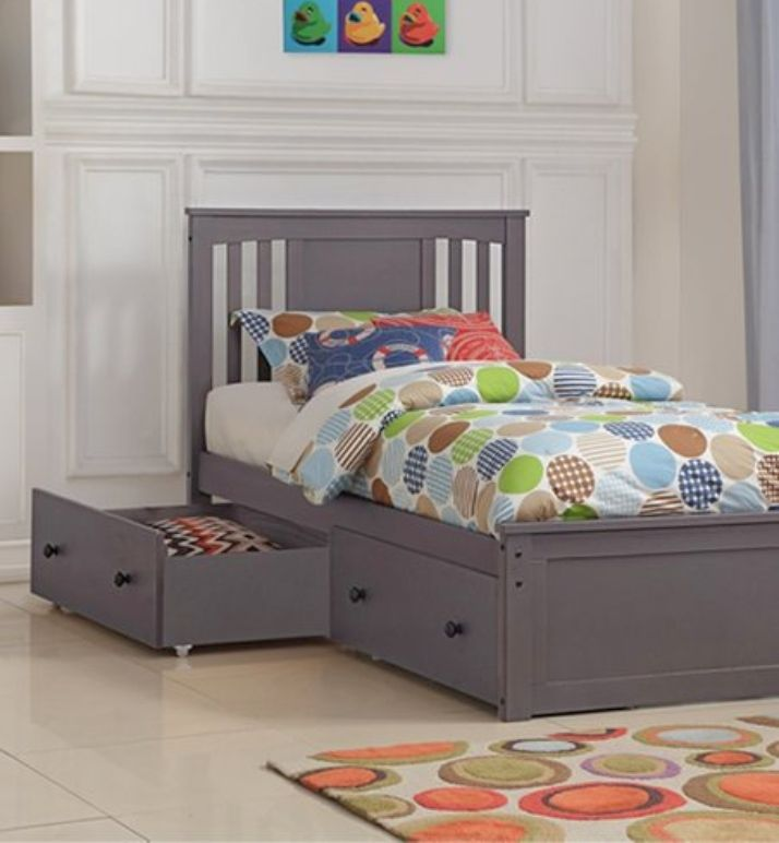 Princeton Slate Gray Solid Wood Twin Platform Bed With Storage