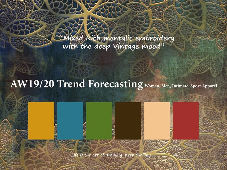 AW 2019/2020 Trend Forecasting for Women, Men, Intimate, Sport Apparel -Mixed Rich mentalic embroidery with the deep Vintage mood  www.JudithNg.com