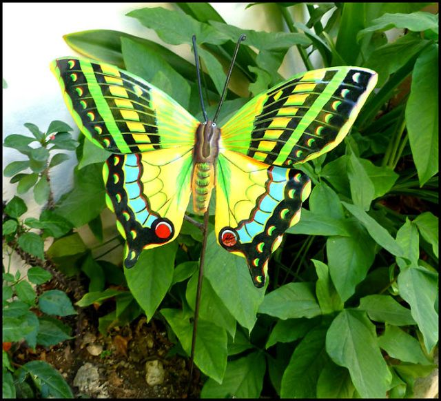 Garden Art   Painted Metal Butterfly Garden Decor   Garden Markers,  Butterfly Plant Stick, Garden Art, Yard Art   Metal Art   By TropicAccents  On Etsy
