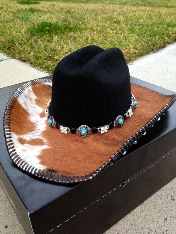 Women's Custom Cowboy Hat with Hairon by DMCustomLeatherworks, $200.00