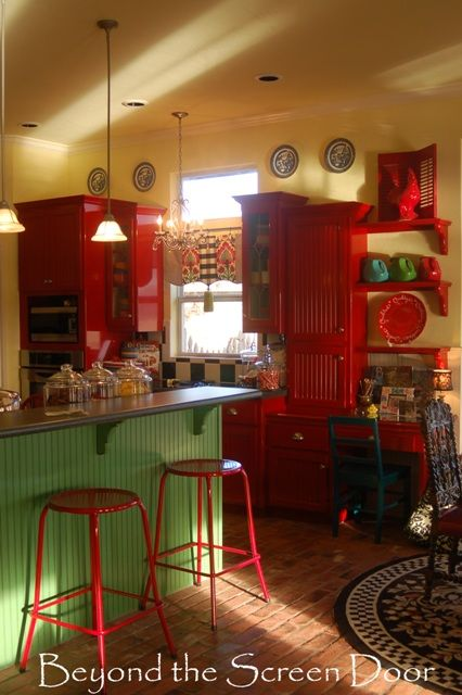 Elizabeth's Red Kitchen and Curtain Makeover   Beyond the Screen Door