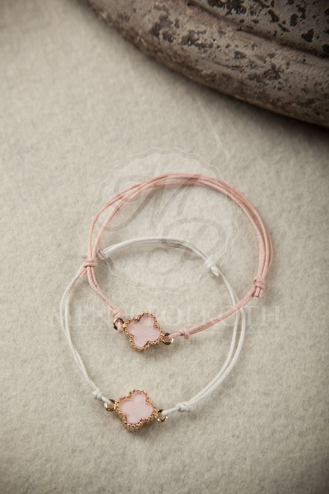 Witness bracelet - martyrika with waxed cord and lovely pink cross