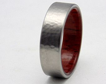 Hammered Titanium ring wood ring Honduran by 2ndstreetringcraft