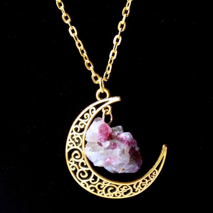 Hzew Sailor Moon Collar de Sol Y La Luna de La Joyería de oro Collar de Cristal de Piedra Natural Turmalina Colgante Para Las Mujeres