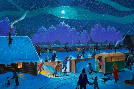 http://www.gibsonfineart.ca William (Bill)  Brownridge I Love the Night Rink