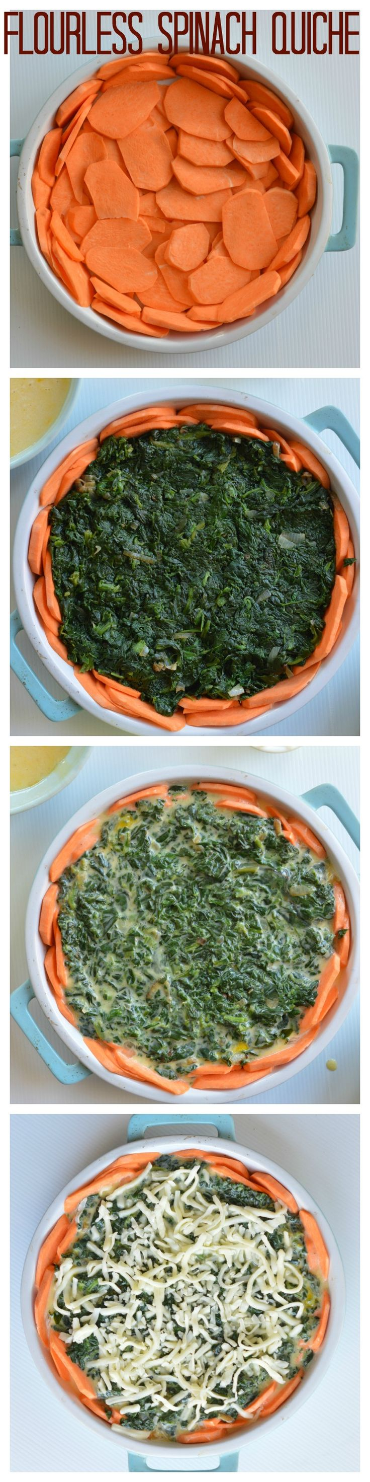Flourless spinach quiche with a fake crust made with sweet potatoes layers. Yes! it holds together and can be sliced in portions. Very yummy, quick and easy family dinner.