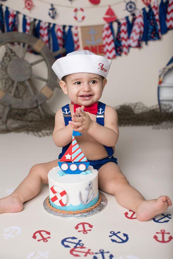 Red Braces.handmade. Baby Boys 1st Birthday Cake Smash Outfit Blue//White Star
