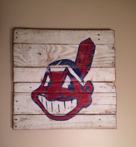 Cleveland Indians Wall Hanging by PalletsandPaint on Etsy, $40.00