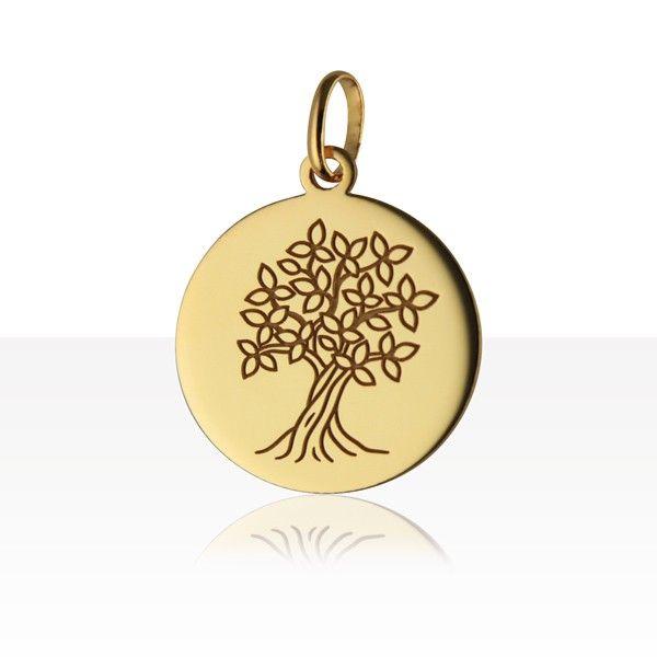 Médaille ARBRE DE VIE GRAVEE Or 750°°° | MEDAILLE BAPTEME / NAISSANCE OR 18K | TERRE DE BIJOUX.COM