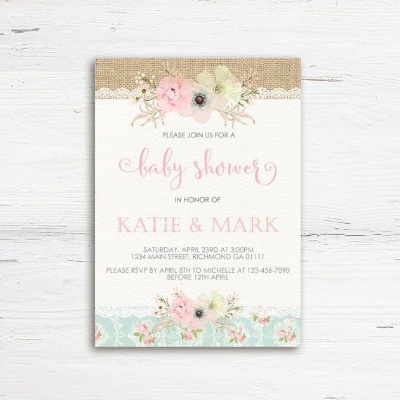 Shabby Chic Baby Shower Invitation Girl Baby by PrettyLittleInvite