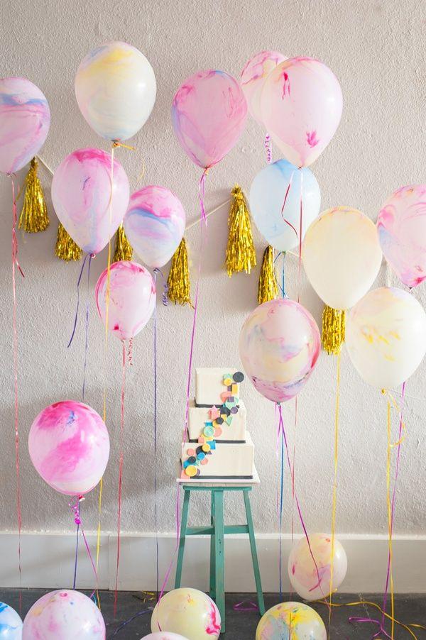 Pretty Marbled Balloons via Ruffled