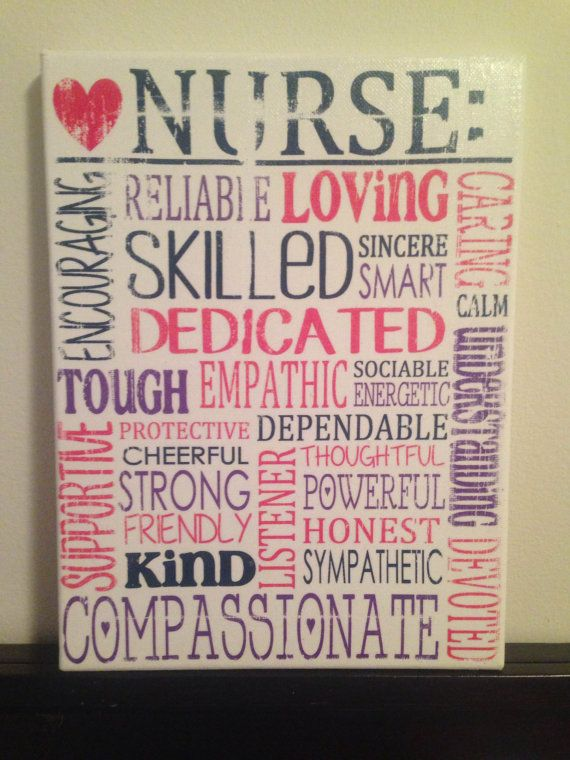 Subway Art Canvas - Words That Describe a Nurse 'Rustic' Looking Sign. Gift for rn, lpn, cna, md , Nursing Student, Nurse. Co Worker❤️