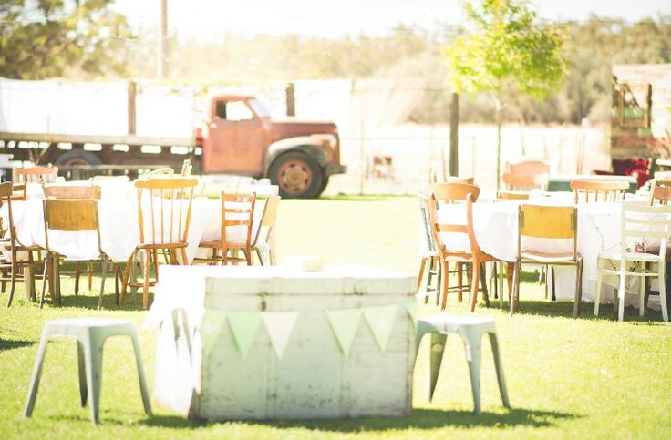 Another view of our wedding reception area. Vintage country wedding.