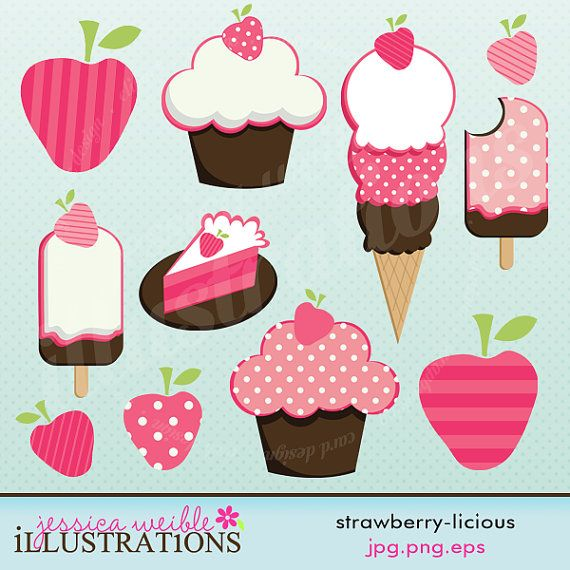 Strawberry licious Cute Digital Clipart for Card Design, Scrapbooking, and Web Design