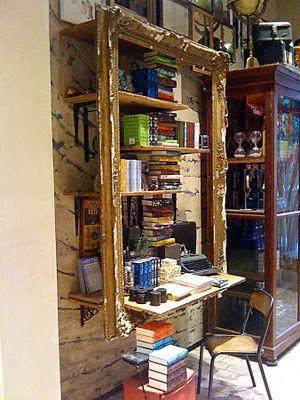 anthropology book shelves and knackered vintage frame.