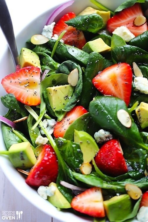Salad with strawberry, avocado, and spinach