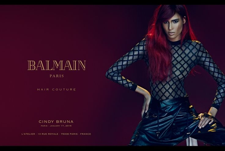 Cindy Bruna models a red hairstyle in Balmain Hair Couture spring 2016 cmapaign
