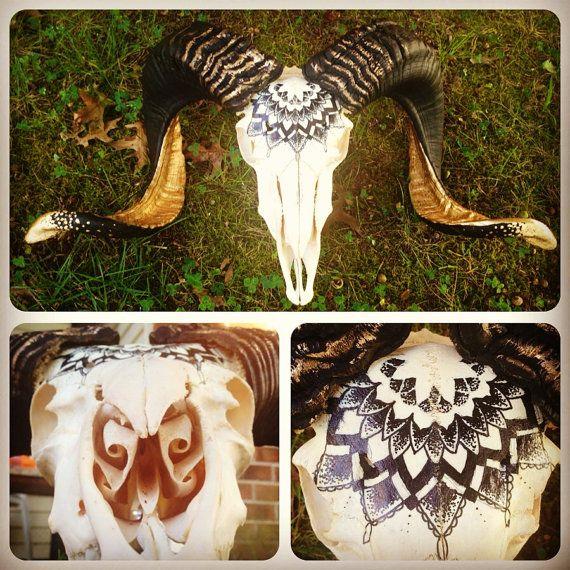 "Custom Hand-Painted ""Profane Geometry"" Animal Skull"