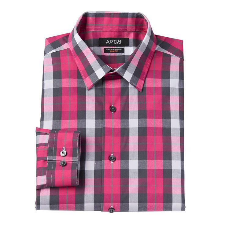 Men's Apt. 9® Extra-Slim Fit Gingham-Checked Stretch Dress Shirt, Size: 16.5-32/33, Pink