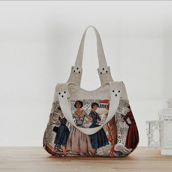 Vintage Sewing Pattern And Newpaper Prints Large Hobo Bag /Diaper Bag/Shoulder…
