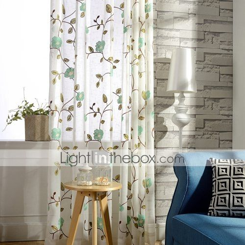 (Two Panel)Modern Leaves and Blossoms Embroidered Cotton Energy Saving Curtain 2015 – $88.19