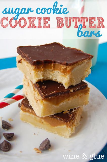 Sugar Cookie Cookie Butter Bars http://www.wineandglue.com/2013/04/sugar-cookie-cookie-butter-bars.html