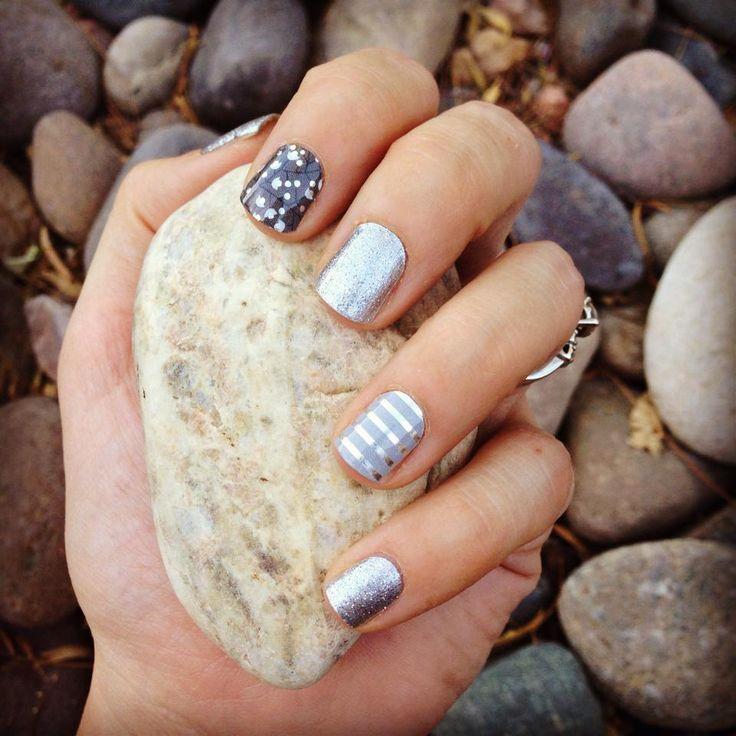 Diamond dust sparkle, gray and silver pin stripe, metallic berry