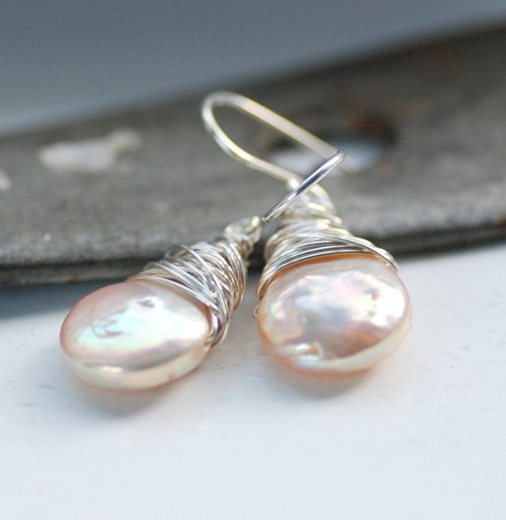Blush Pink Pearl Earrings, Champagne Freshwater Coin Pearl on Sterling Silver June Birthstone - Windswept From etsy