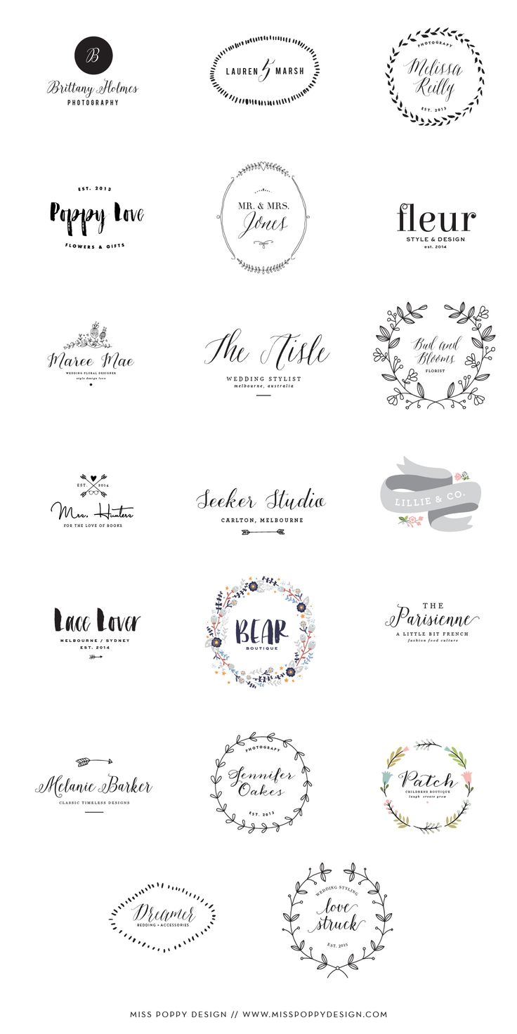 Miss Poppy Design / New Pre Designed Logo Collection / Photographer / Florist / Designer / Graphic Design / Wedding Planner