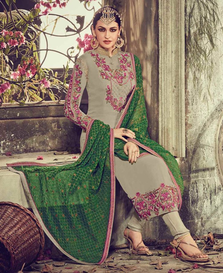 Sizzling Grey Colored Embroidered Faux Georgette Wedding Salwar Kameez Shop: https://goo.gl/Xww8ln