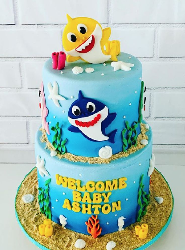 Baby shark birthday cake made with satin ice sweets by