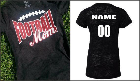 Glitter Football Mom Shirt Burnout or T-Shirt by GraphicsUnlimitedLLC, $23.00