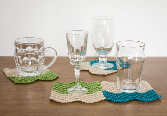 Hand knitted lace coasters  set of 4 by KnittedWonderland on Etsy,