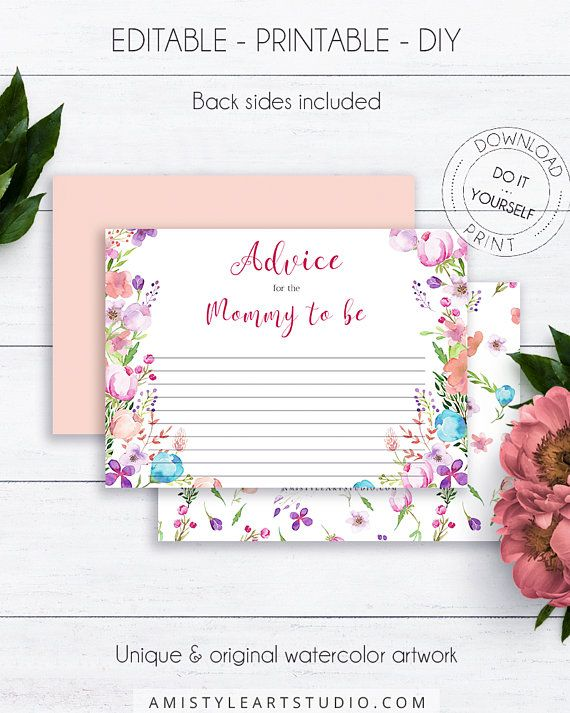 Vintage Floral Shower Advice Cards, with lovely watercolor floral design in vintage style.This splendid baby shower advice card listing is for an instant download PRINTABLE PDF so you can download it right away, print it at home or at your local copy shop by Amistyle Art Studio on Etsy