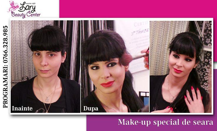 make-up cu smokey eyes si ruj rosu http://www.larybeautycenter.ro/