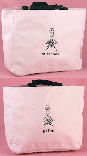 Pink and Black Bridal Party Totes from Wedding Favors Unlimited