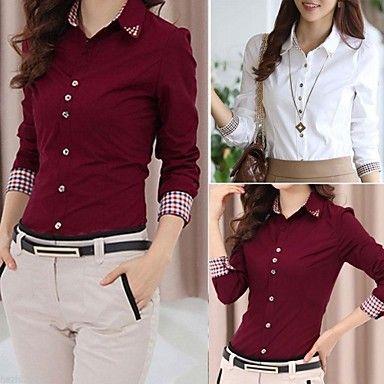 duopindun @ damas coreano de manga larga ol botón cuello de la camisa blusa – USD $ 14.19