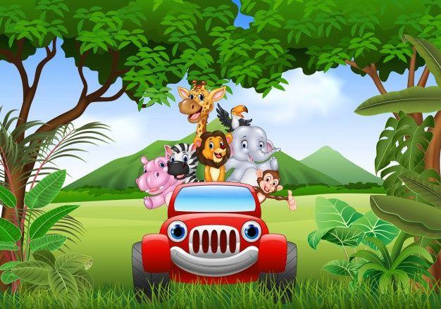 Animais Dos Desenhos Animados Africa No Carro Vermelho Cartoon Animals Cartoon Owl Cartoon