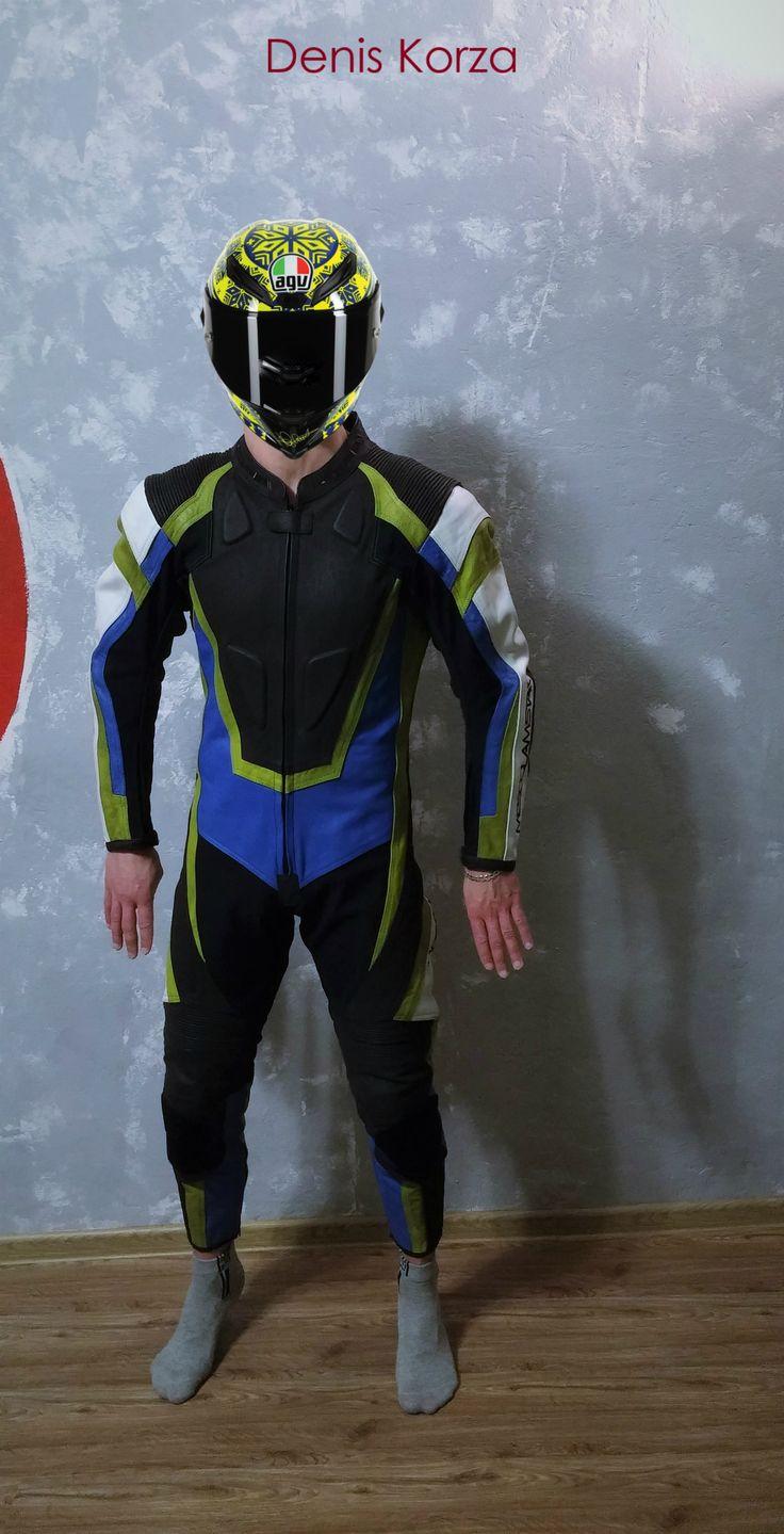 Boy in moto overalls   Agv Helmet #moto #overalls #natural #leather #full #italia #japan #deniskorza #fashion #cosplay