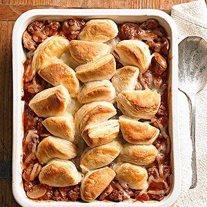 Upside-Down Pizza Casserole  This quick pizza casserole can be altered easily. Substitute Italian sausage for the ground beef, or stir sliced mushrooms or ripe olives into the meat mixture.