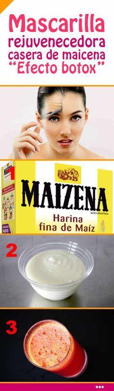 Mascarilla rejuvenecedora casera de maicena. Efecto Botox #botox #mascarilla #casera #antiarrugas #rejuvenecimiento #facial #rostro #piel #cara