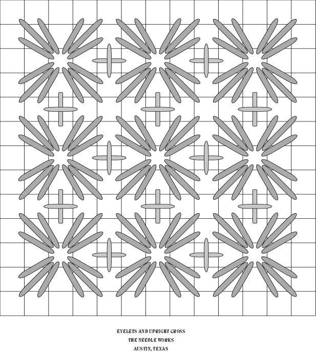 EYELETS AND UPRIGHT CROSS needlepoint stitch