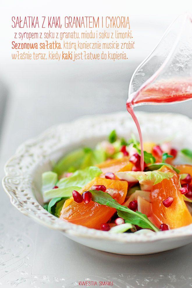 Pommegranate seeds & persimmon salad