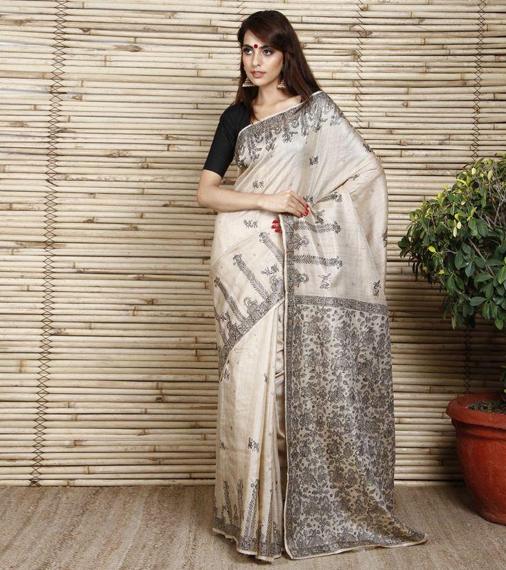 indian roots white sarees | Beige Tussar Silk Saree with Madhubani