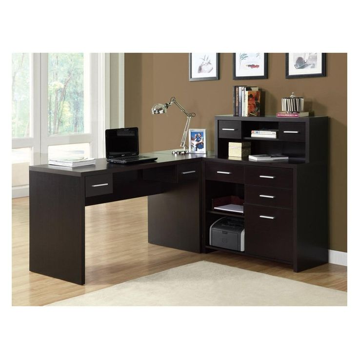 Monarch Cappuccino Hollow Core L Shaped Home Office Desk  448 99. 56 best Desks images on Pinterest   Office desks  Corner computer