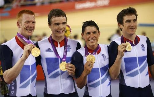 WHEELS OF GOLD: Great Britain's Ed Clancy, Geraint Thomas, Steven Burke and Peter Kennaugh celebrate their team pursuit victory .Congratulations!