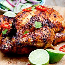 Indian-spiced Roast Chicken. I'm always looking for a new roast chicken recipe, this one sounds spicy and delicious.