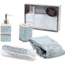 Complete Bathroom Set Deluxe Blossom: 1 Shower Curtain 1 Toothbrush Holder 1 & |