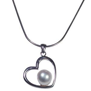 This Christmas give the gift of Love! Love Heart Freshwater Cultured Pearl Heart Necklace with Sterling Silver Chain www.apassionforpearls.com